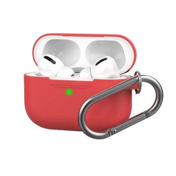 Красный силиконовый чехол для AirPods Pro с карабином