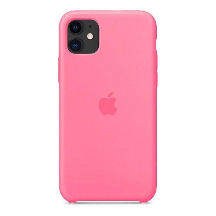 Чехол для iPhone 11 Silicone Case силиконовый ярко-розовый