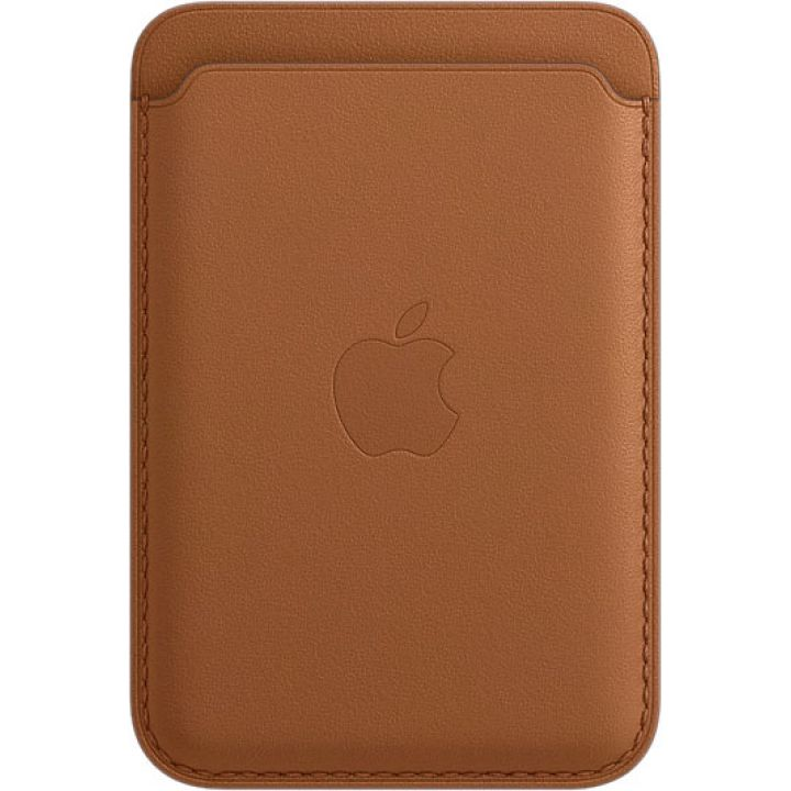 Кожаный чехол-бумажник Apple MagSafe для iPhone 12 / 12 Pro, золотисто-коричневый