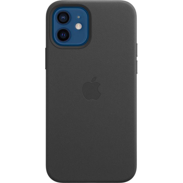 Чехол Leather Case для iPhone 12/12 Pro, кожа, чёрный