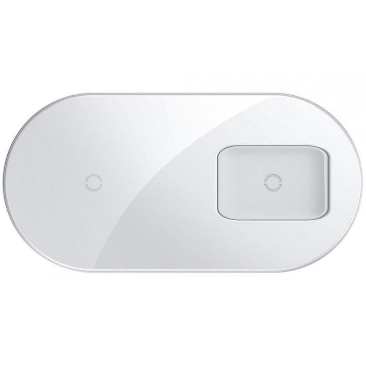Беспроводная зарядка Baseus Simple 2in1 Wireless Charger Pro Edition, белая