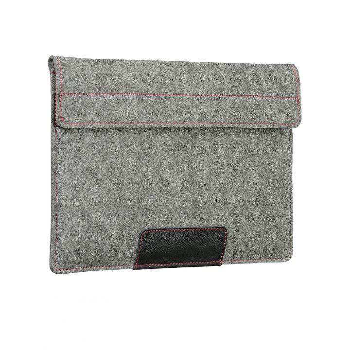 """Чехол-конверт в карманом Alexander для MacBook Pro 16"""", войлок и кожа, светло-серый"""