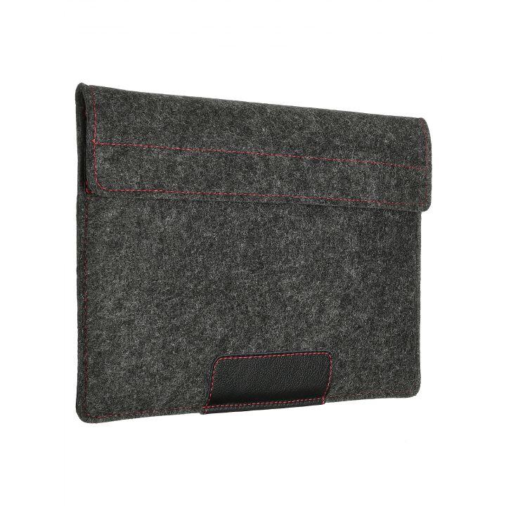 """Чехол-конверт в карманом Alexander для MacBook Pro 16"""", войлок и кожа, тёмно-серый"""