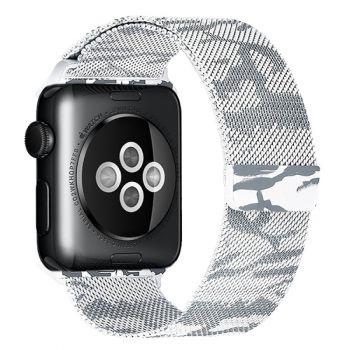 Ремешок Миланский Mokka Milanese Khaki White для Apple Watch 38/40 мм